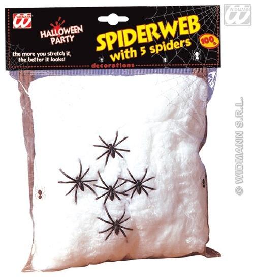 Spinnweben weiß 100gr mit 5 Spinnen