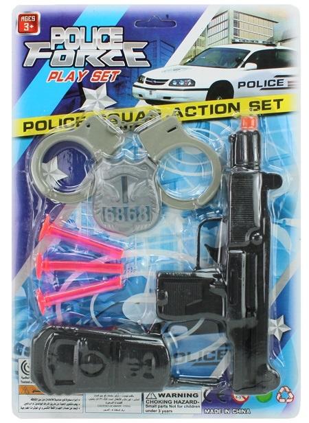 Polizeikarte mit Pistole und Zubehör - Karte ca 31,5x21,5cm