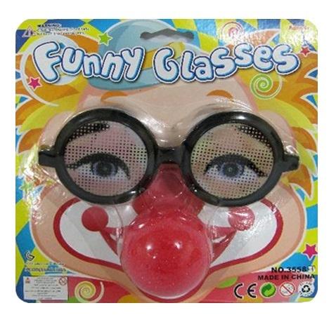 Scherzbrille mit Clownnase auf Karte ca 19x19cm