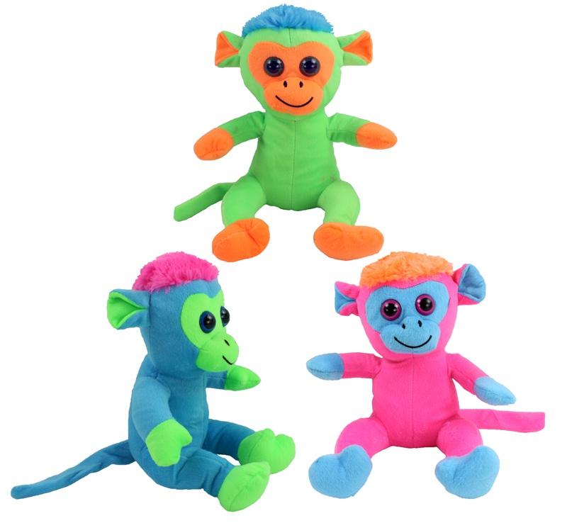 Affe mit Glitzeraugen 3 Farben sortiert ca 25 cm
