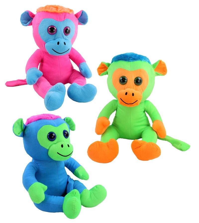 Affe mit Glitzeraugen 3 Farben sortiert ca 36 cm