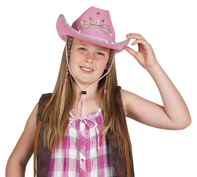 Cowboyhut- Glimmer Girl rosa mit Krone