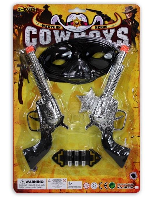 Westernset mit 2 Pistolen und Maske auf Karte ca 31,5x21cm