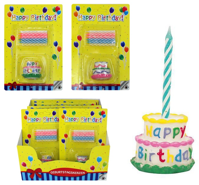 HAPPY BIRTHDAY Geburtstagskerzen Torten Set 2-fach sortiert