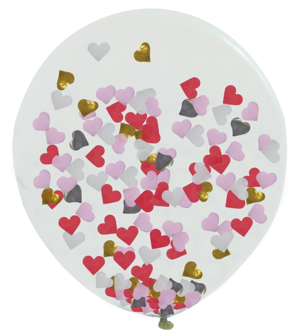 Ballon gefüllt mit Herzkonfetti rosa rot ca 180/200cm Umfang