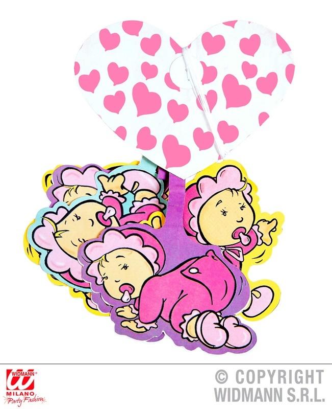 Girlande mit rosa Herzen und Babymotiven ca 3 meter