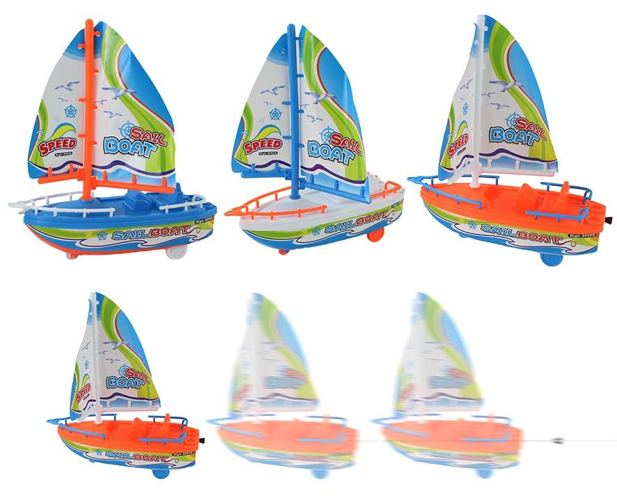 Segelboot aufziehbar 3-farbig sortiert - ca 20cm