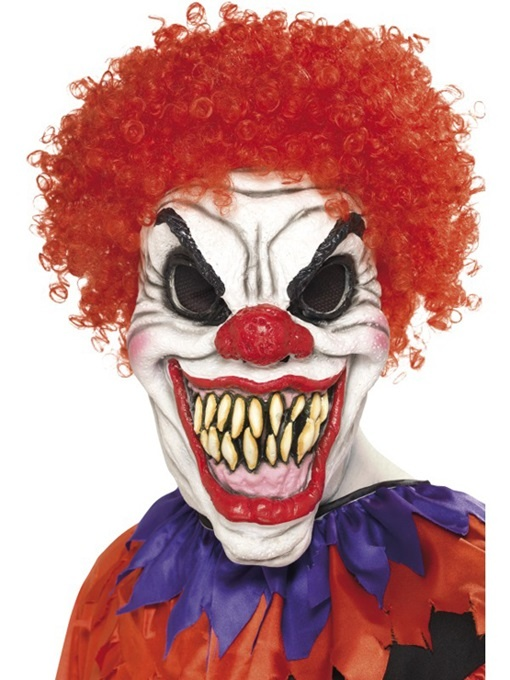Clown Maske Latex mit Haar