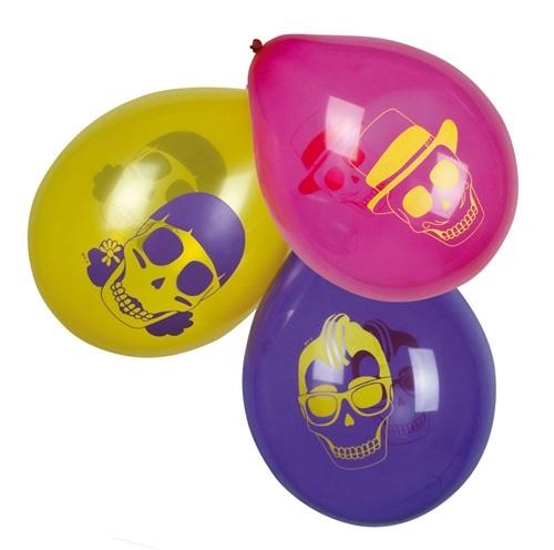 Ballons - Totenkopf 3-fach sortiert - 6 Stk - ca 25cm