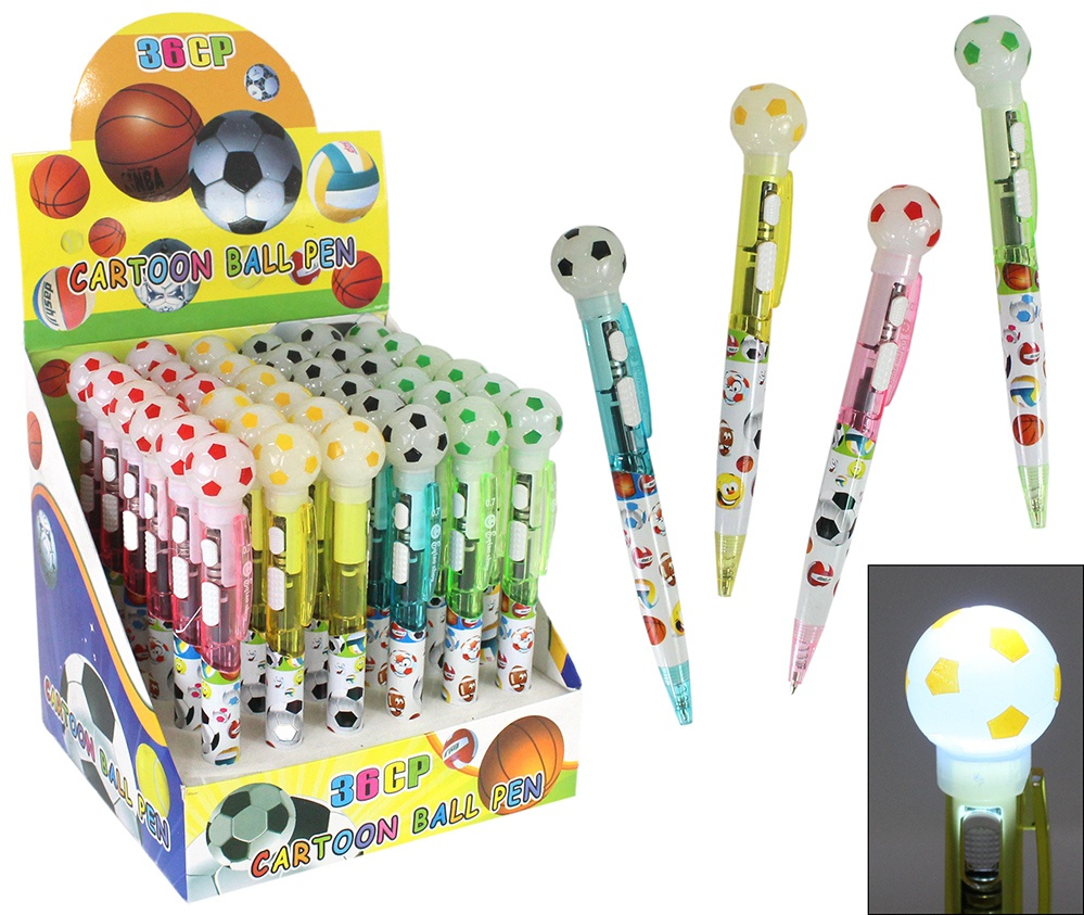 Blink Kugelschreiber Fußball, 4-farbig sortiert ca 15 cm