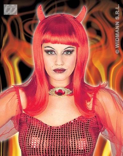 Perücke - Devilicia Teufelin rot mit Hörnern