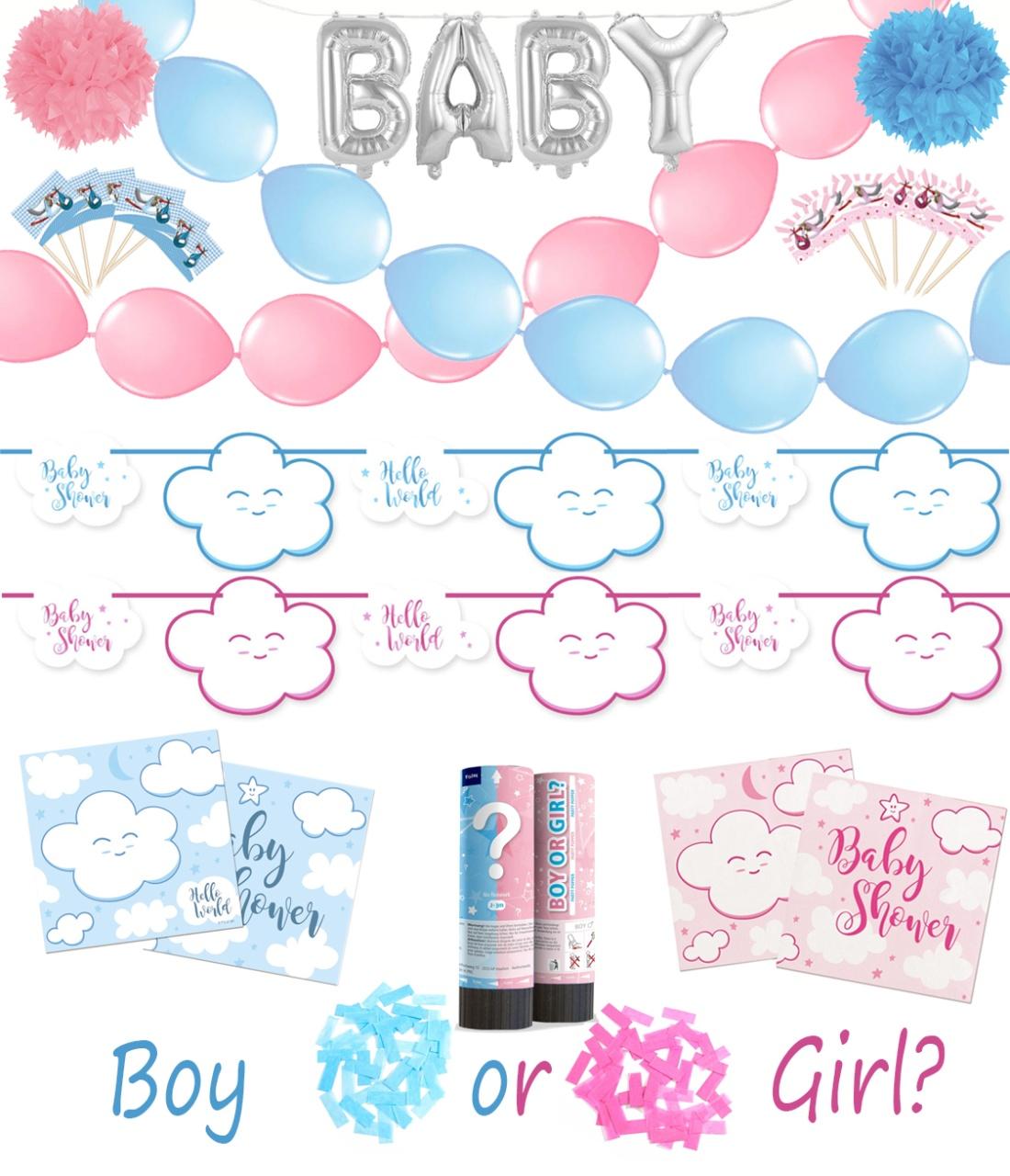 Baby Party Shower Gender Reveal Set 166 teilig