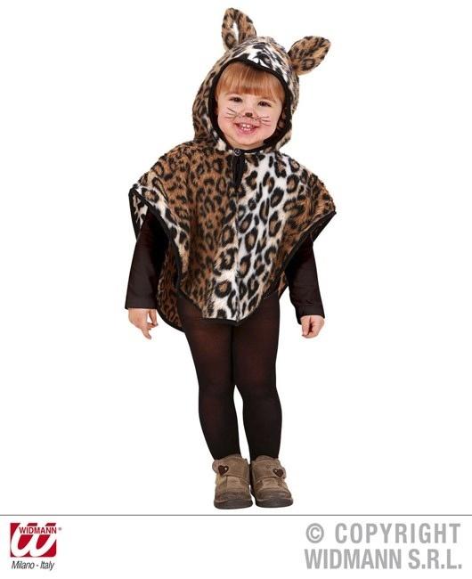 Kinderkostüm Leopard aus Plüsch (Poncho mit Kapuze) 98