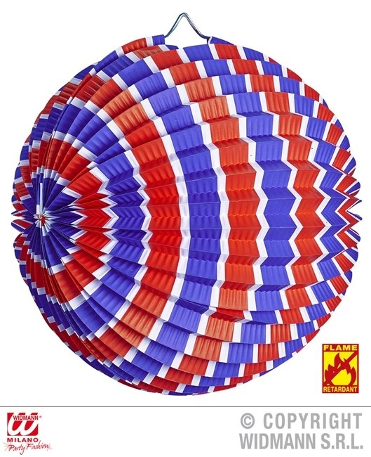 Lampion blau-weiss-rot gestreift ca Ø 25 cm