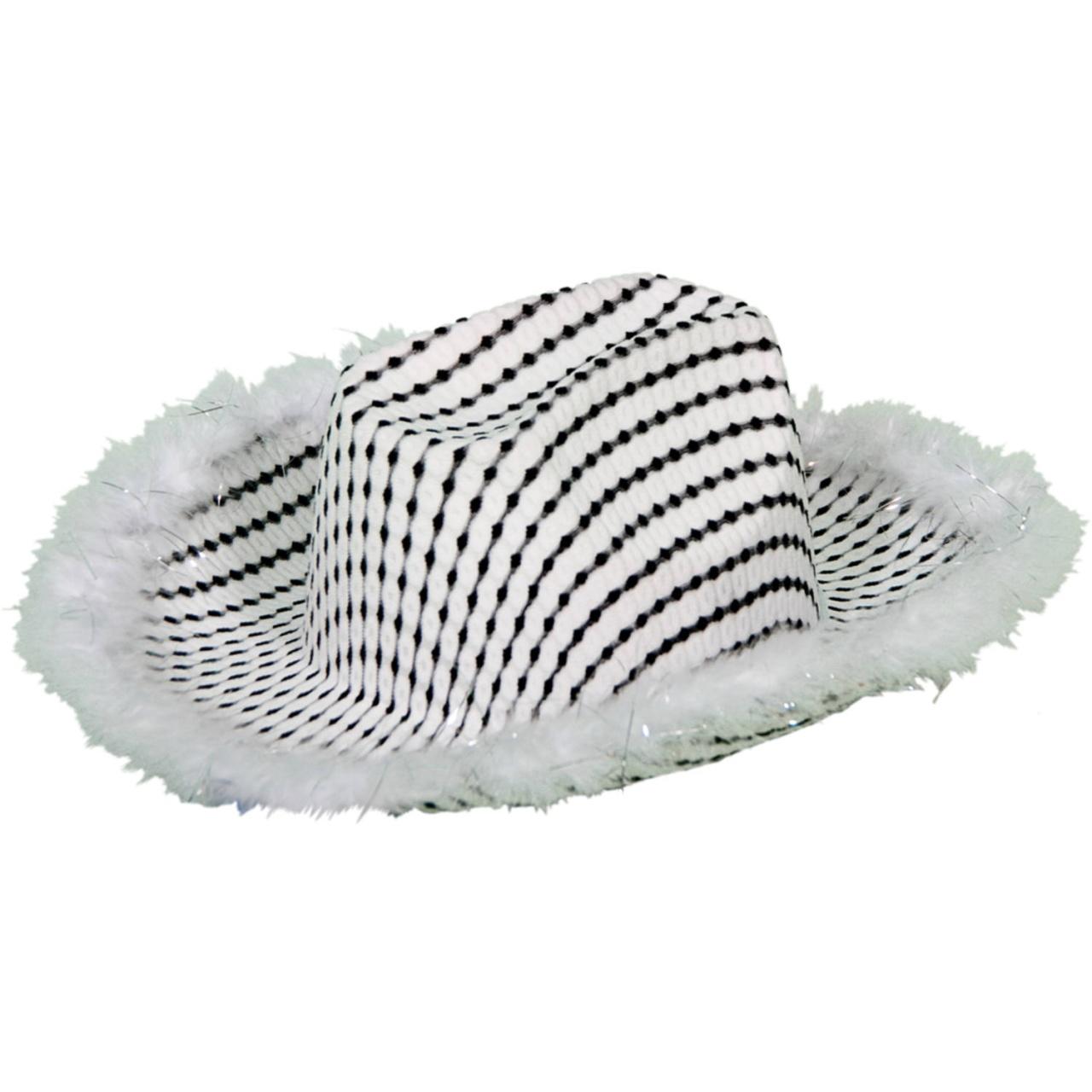 Cowboyhut mit Plüschrand schwarz-weiß für Erwachsene