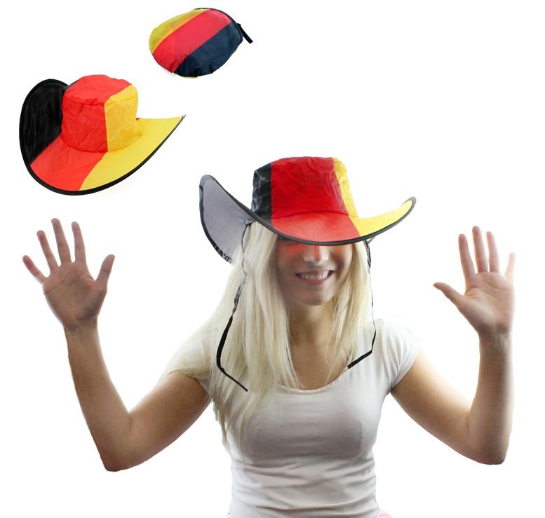 Cowboyhut faltbar in Deuschlandfarben