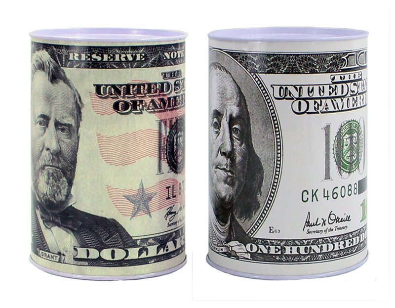 Spardose Dollar-Design 2-fach sortiert - ca 15x10cm