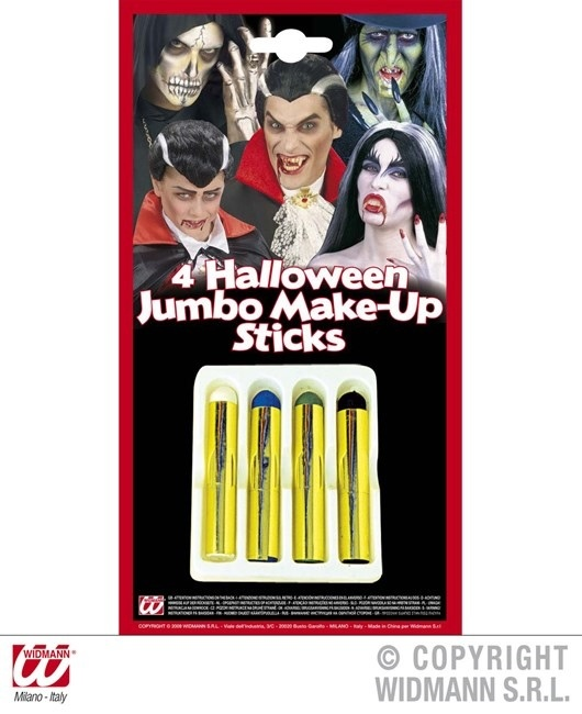 Halloween Schminkstift maxi 4er Set auf Karte ca 21,5x11,5cm