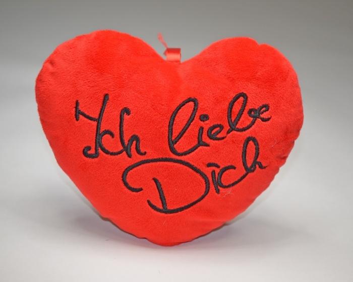 Herz rot, mit Stickerei Ich liebe Dich ca 25 cm