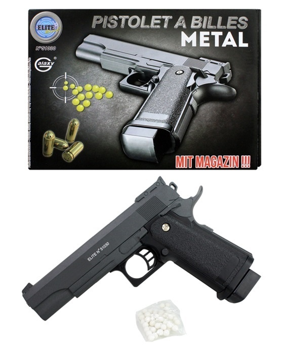 Kugelpistole Metall mit Magazin max 0,5 Joule - ca 22cm