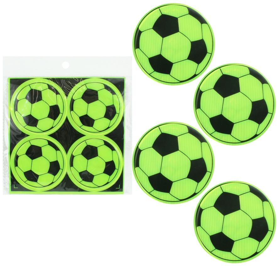 Sticker reflektierend Fußballdesign 4 Stück - ca 6,5cm