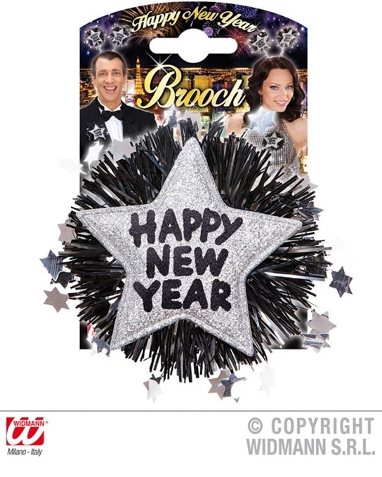 Brosche HAPPY NEW YEAR silber - ca 12 x 12 cm