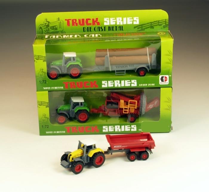 Traktor aus Metall mit Anhänger, 3-fach sortiert