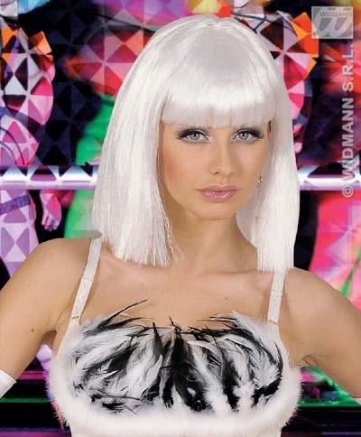 Perücke - Showgirl weiß - Ponyfrisur