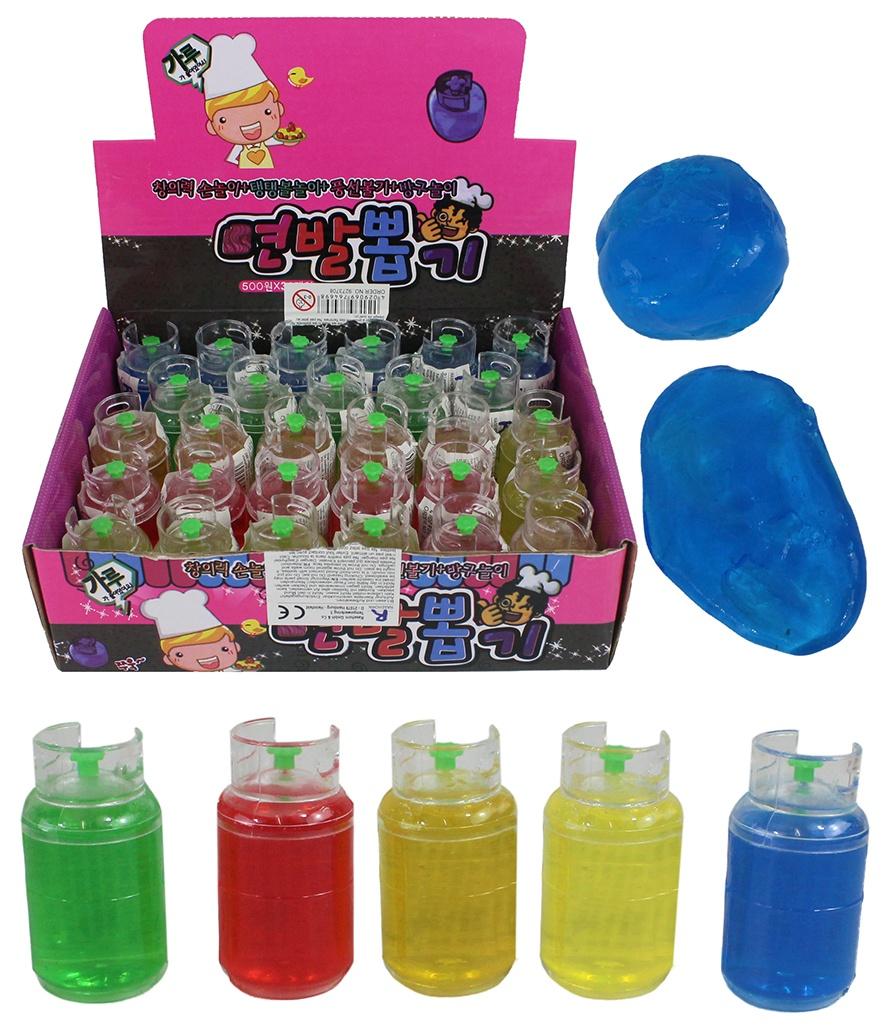 Glibberknete im Gastank 5-farbig sortiert ca 6,5x3,5 cm