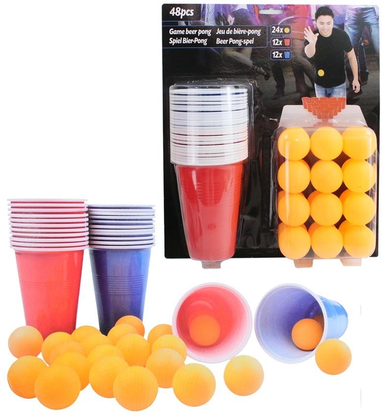 Bier Pong Spiel 48 teilig auf Karte ca 33,5x29cm