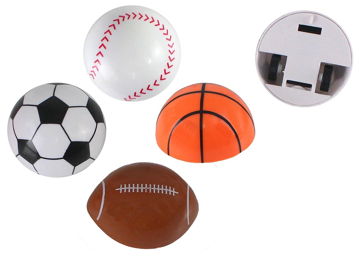 Ball halber Sportball mit Rückzug 4-fach sort - ca 4-4,5cm