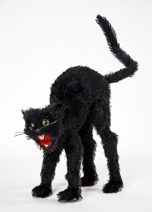 buckelige, schwarze Katze, ca. 27 cm