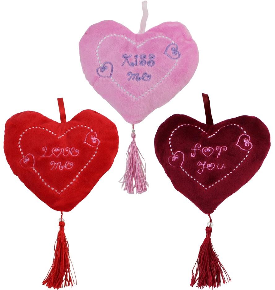 Herz mit Perle und Trotteln und und  Stickerei, ca 14 cm