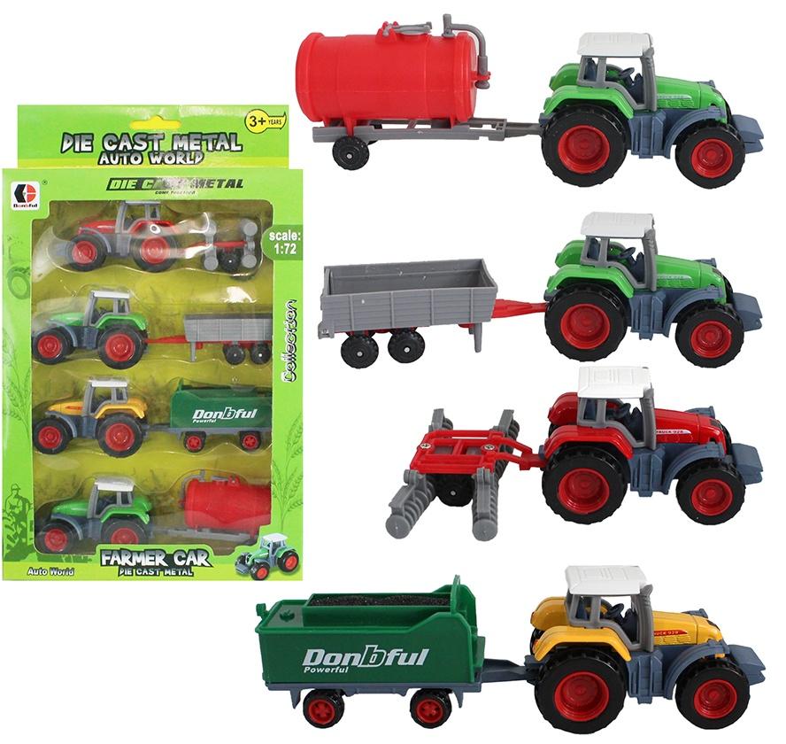 Traktorset METALL 4er Set Trakoren in Box ca 28,5 x 17 cm