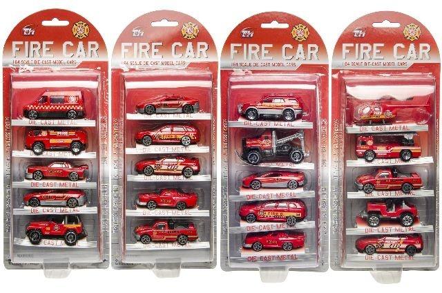Feuerwehrfahrzeuge METALL 5 Stück auf Karte ca 31,5x13cm