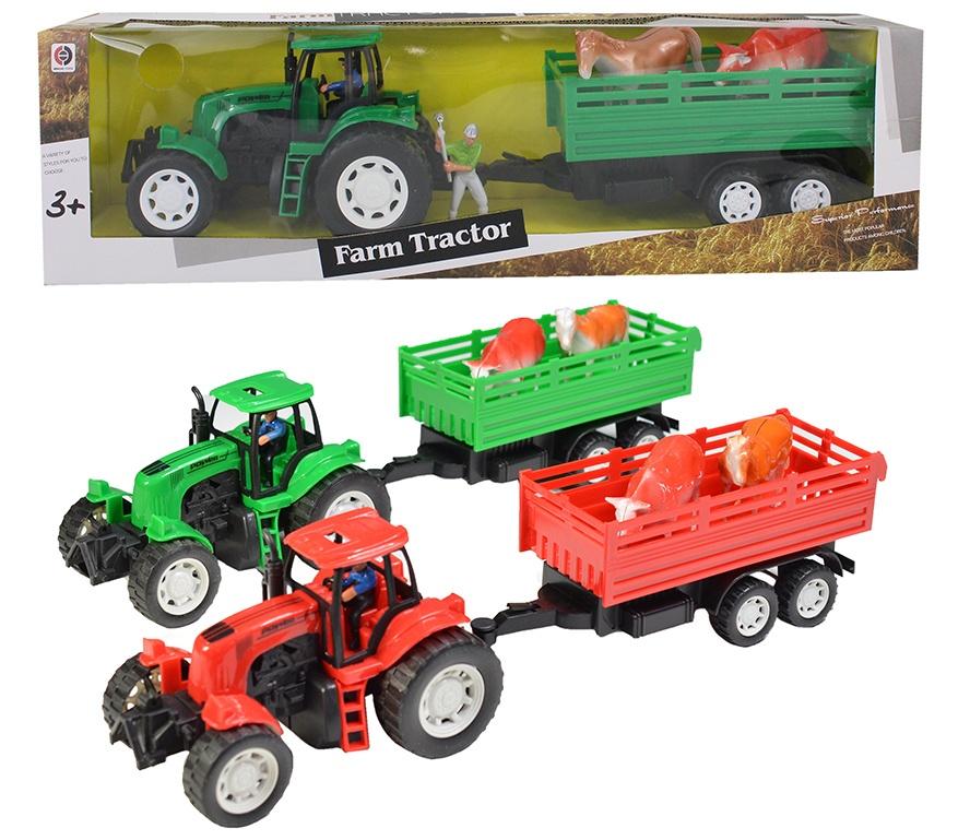 Traktor mit Hänger, 2-farb sortiert, in Box ca 48x13,5x10 cm