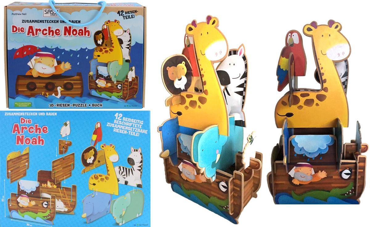 Sassi Die Arche Noah 3D Riesenpuzzle mit Buch