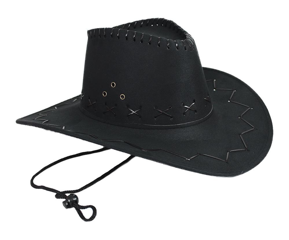 Cowboyhut schwarz Velourlederoptik