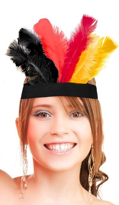 Kopfband Deutschland mit Federn - Umfang ca 40cm