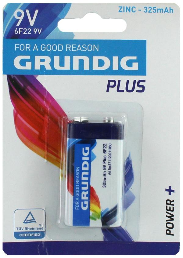 Batterie GRUNDIG  9 Volt Blockbatterie auf Karte ca 12x8,5cm