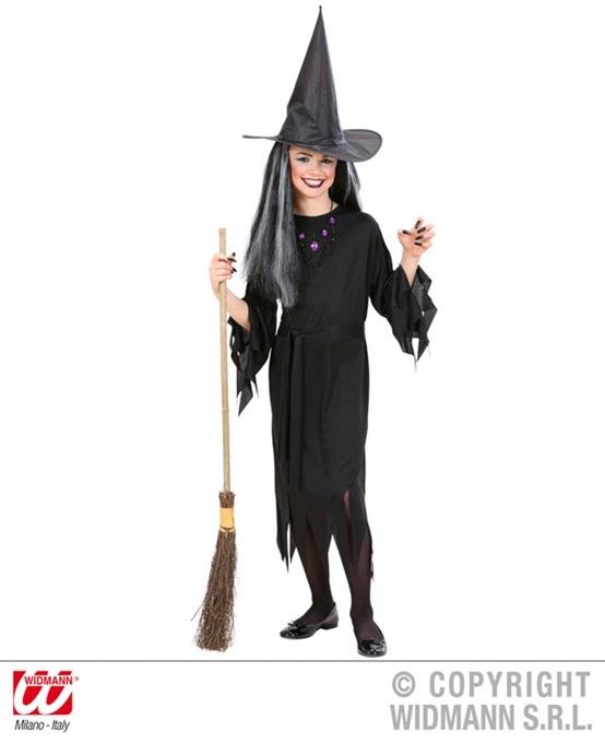 Kostüm Hexe (Kleid, Gürtel und Hut) Größe 128