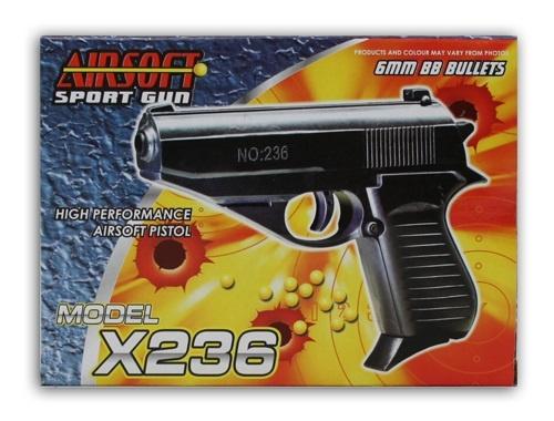 Pistole mit Magazin max 0,08 Joule ca 14 cm