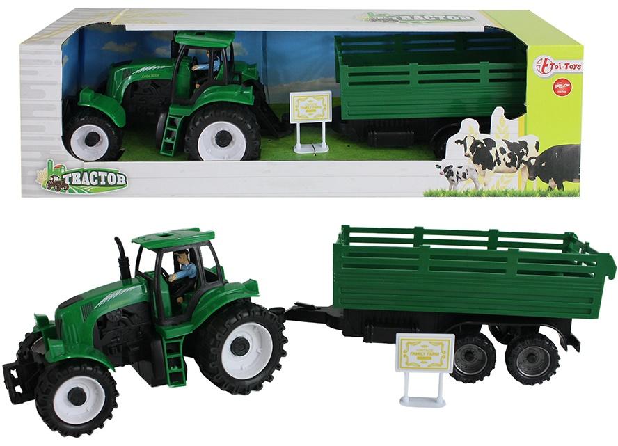 Traktor mit Anhänger grün + Friktionsantrieb - ca 41cm