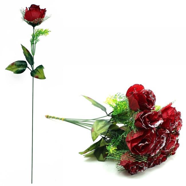 Rose dunkelrot mit Glitzer und Grünschmuck ca 51 cm