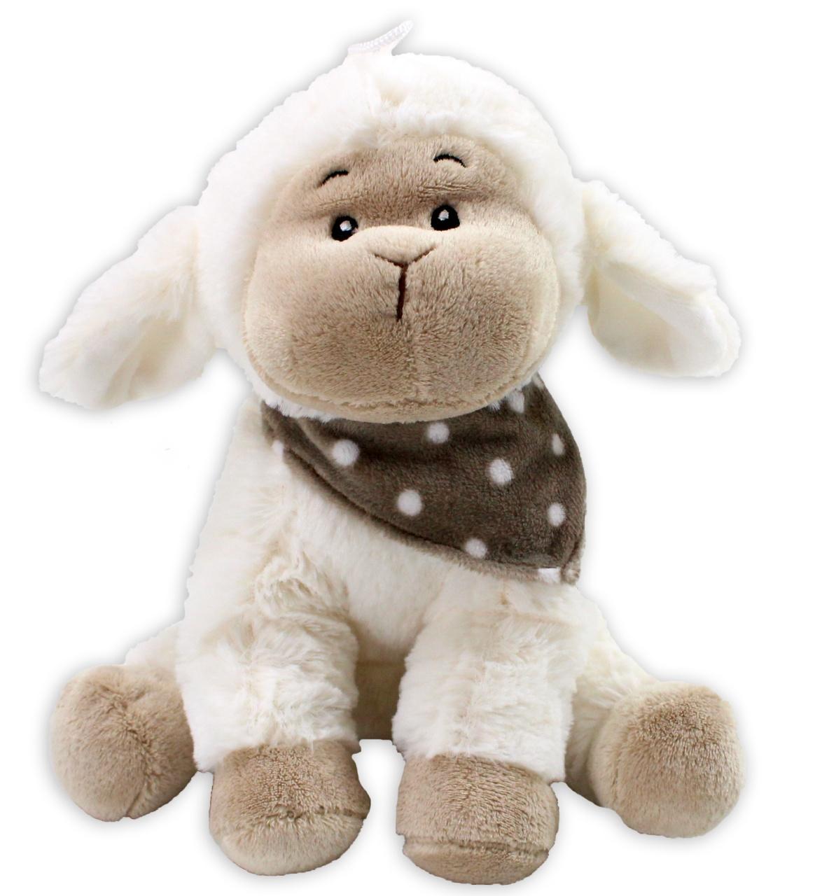 Schaf sitzend mit gepunktetem Halstuch - ca 23 cm