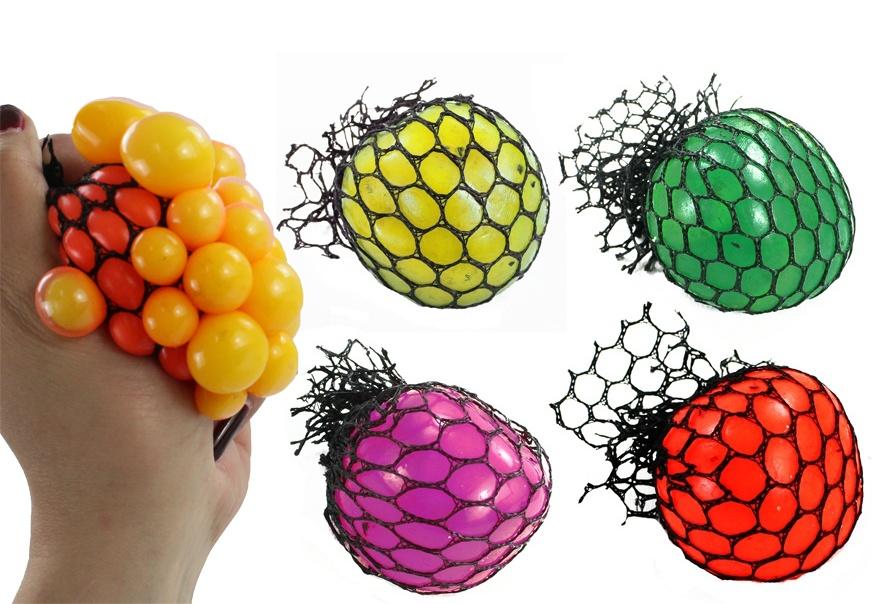 Knautschball im Netz 4-fach sortiert - ca 6 cm