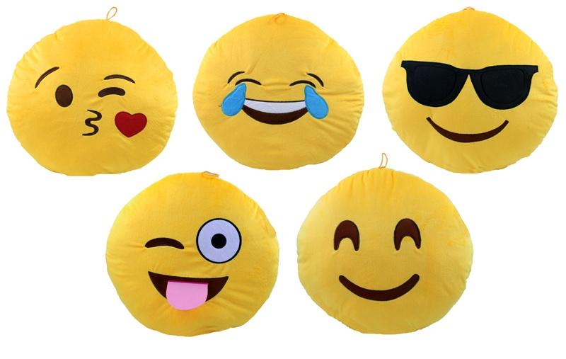 Kissen Smilie Emoticon  5-fach sortiert ca 45 cm