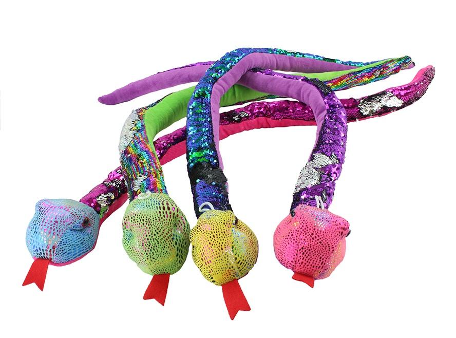 Schlange mit Pailetten 4-farbig sortiert - ca 100cm