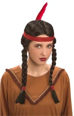 Perücke - Indianerin mit Stirnband und Feder - schwarz
