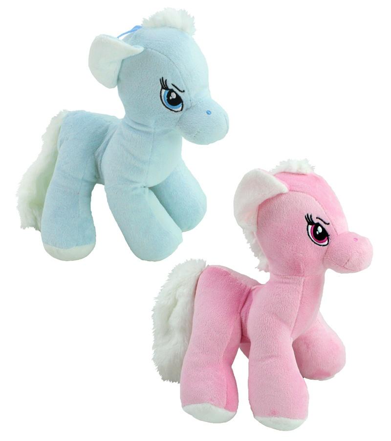 Pferd stehend rosa und blau sortiert - ca 26 cm